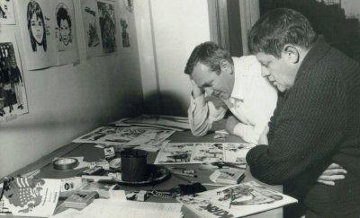 Ο Hugo Pratt με τον Florenzo Ivaldi στα γραφεία του Il Sergento Kirk